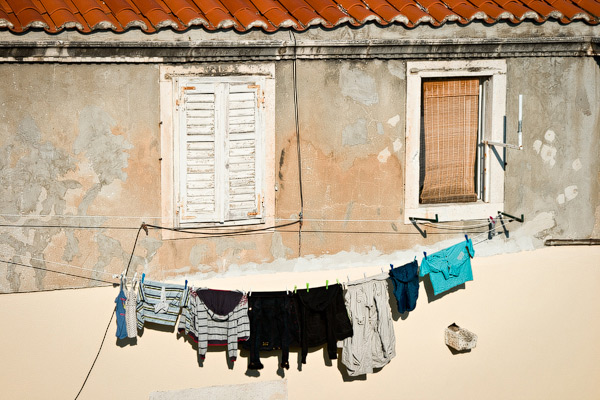Clothes drying in the old city of Dubrovnik