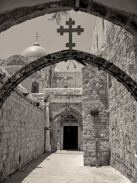 Dziewiąta stacja drogi krzyżowej przy Bazylice w Jerozolimie