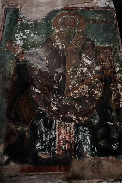 Stare freski przedstawiające świętego w Bazylice Bożego Grobu