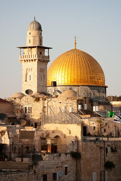 Kopuła na Skale i minaret meczetu na Wzgórzu Świątynnym