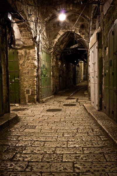 Ulice w centrum stargo miasta w Jerozolimie